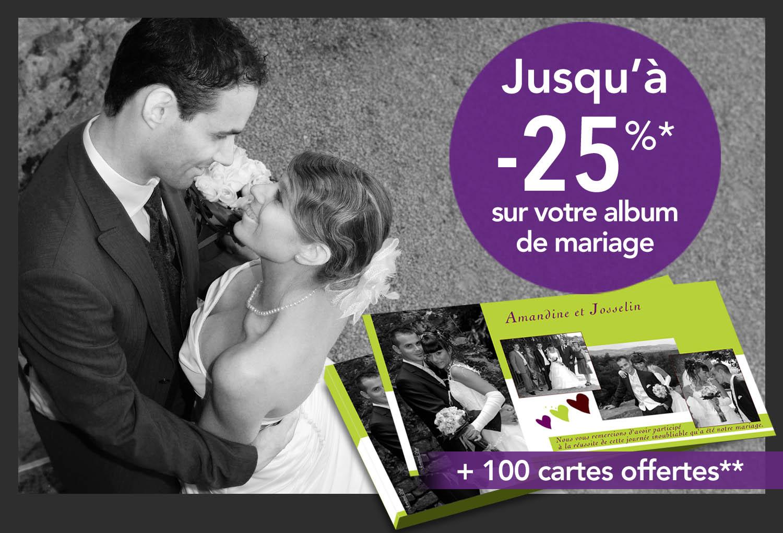 Promo, jusqu'à - 25 % sur votre album de mariage